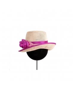 Sombrero flores fucsia