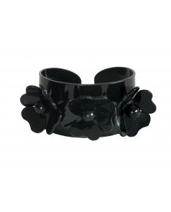 Brazalete 3 flores negro