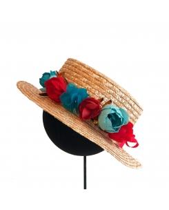 canotier-corona de flores