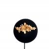 Tiara-Tocado de flores y hojas oro y crudo