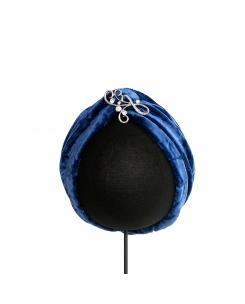 turbante azulon con broche